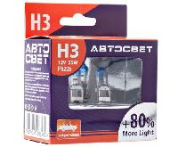 Лампа галогеновая Н 3 12V 55W Pk22s More Light+ 80% (32320ML+80) 2 шт, к-т   АвтоСвет